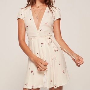 REFORMATION RAQUEL Dress Ivory Cherry Print Large
